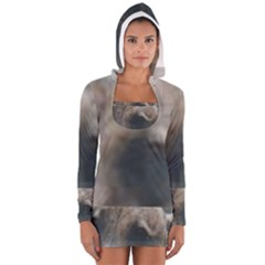 Whippet Brindle Eyes  Women s Long Sleeve Hooded T-shirt
