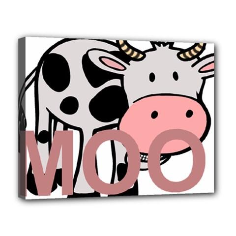 Moo Cow Cartoon  Canvas 14  x 11