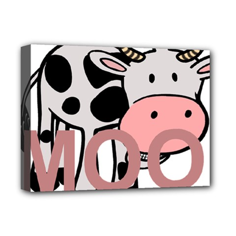 Moo Cow Cartoon  Deluxe Canvas 16  x 12