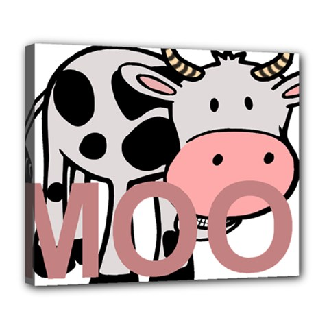 Moo Cow Cartoon  Deluxe Canvas 24  x 20