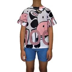 Moo Cow Cartoon  Kids  Short Sleeve Swimwear