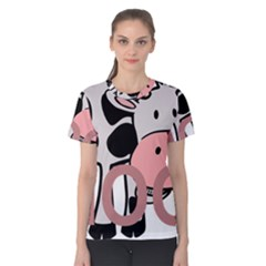 Moo Cow Cartoon  Women s Cotton Tee