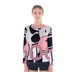 Moo Cow Cartoon  Women s Long Sleeve Tee