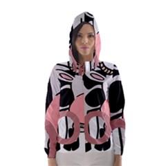 Moo Cow Cartoon  Hooded Wind Breaker (Women)