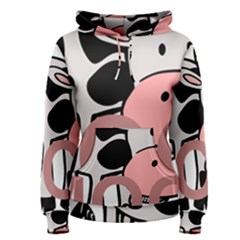 Moo Cow Cartoon  Women s Pullover Hoodie