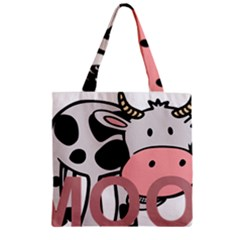 Moo Cow Cartoon  Zipper Grocery Tote Bag