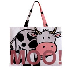 Moo Cow Cartoon  Zipper Mini Tote Bag