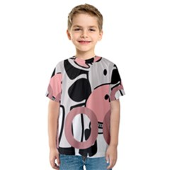 Moo Cow Cartoon  Kids  Sport Mesh Tee