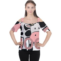 Moo Cow Cartoon  Women s Cutout Shoulder Tee