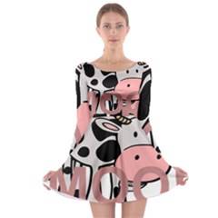 Moo Cow Cartoon  Long Sleeve Skater Dress