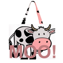 Moo Cow Cartoon  Large Tote Bag