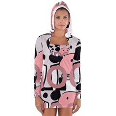 Moo Cow Cartoon  Women s Long Sleeve Hooded T-shirt
