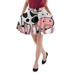 Moo Cow Cartoon  A-Line Pocket Skirt