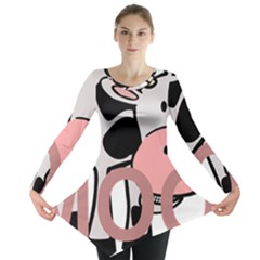 Moo Cow Cartoon  Long Sleeve Tunic