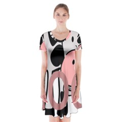 Moo Cow Cartoon  Short Sleeve V-neck Flare Dress