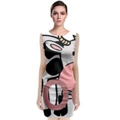 Moo Cow Cartoon  Classic Sleeveless Midi Dress