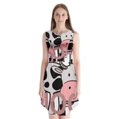 Moo Cow Cartoon  Sleeveless Chiffon Dress