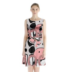 Moo Cow Cartoon  Sleeveless Chiffon Waist Tie Dress