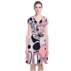 Moo Cow Cartoon  Short Sleeve Front Wrap Dress