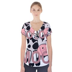 Moo Cow Cartoon  Short Sleeve Front Detail Top