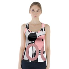 Moo Cow Cartoon  Racer Back Sports Top