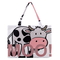 Moo Cow Cartoon  Medium Zipper Tote Bag