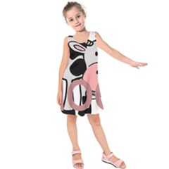 Moo Cow Cartoon  Kids  Sleeveless Dress