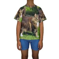 Norwegian Forest Cat Full  Kids  Short Sleeve Swimwear