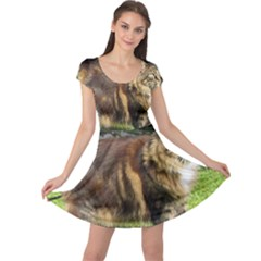 Norwegian Forest Cat Full  Cap Sleeve Dresses