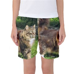 Norwegian Forest Cat Full  Women s Basketball Shorts
