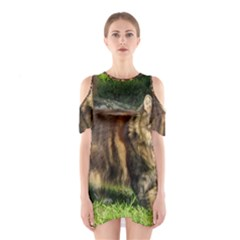 Norwegian Forest Cat Full  Cutout Shoulder Dress