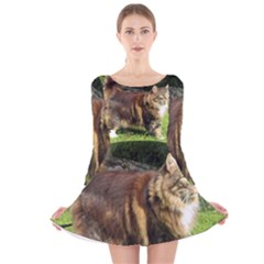Norwegian Forest Cat Full  Long Sleeve Velvet Skater Dress