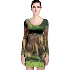 Norwegian Forest Cat Full  Long Sleeve Velvet Bodycon Dress