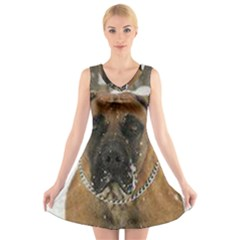 Boerboel  V-Neck Sleeveless Skater Dress