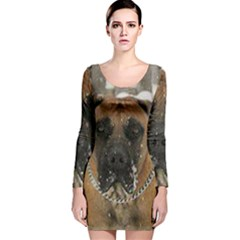 Boerboel  Long Sleeve Velvet Bodycon Dress