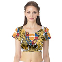 Coat of Arms of Armenia Short Sleeve Crop Top (Tight Fit)