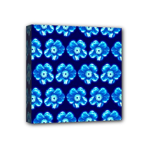 Turquoise Blue Flower Pattern On Dark Blue Mini Canvas 4  x 4