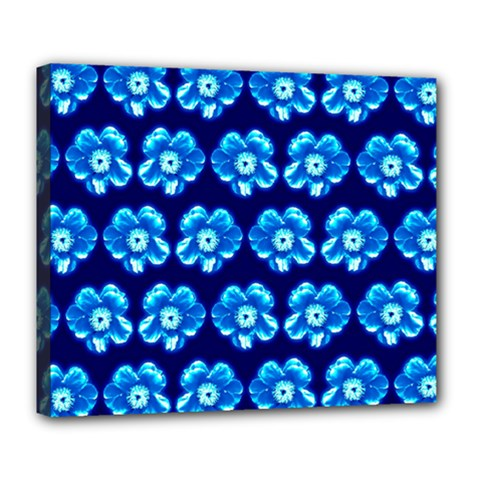 Turquoise Blue Flower Pattern On Dark Blue Deluxe Canvas 24  x 20