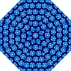 Turquoise Blue Flower Pattern On Dark Blue Hook Handle Umbrellas (Medium)