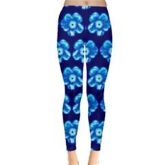 Turquoise Blue Flower Pattern On Dark Blue Leggings