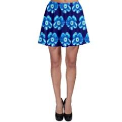 Turquoise Blue Flower Pattern On Dark Blue Skater Skirt