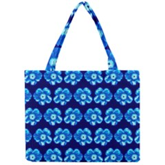 Turquoise Blue Flower Pattern On Dark Blue Mini Tote Bag