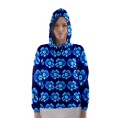 Turquoise Blue Flower Pattern On Dark Blue Hooded Wind Breaker (Women)