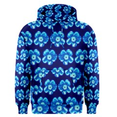 Turquoise Blue Flower Pattern On Dark Blue Men s Pullover Hoodie