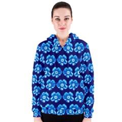 Turquoise Blue Flower Pattern On Dark Blue Women s Zipper Hoodie