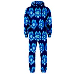 Turquoise Blue Flower Pattern On Dark Blue Hooded Jumpsuit (Men)