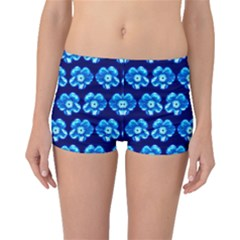 Turquoise Blue Flower Pattern On Dark Blue Boyleg Bikini Bottoms
