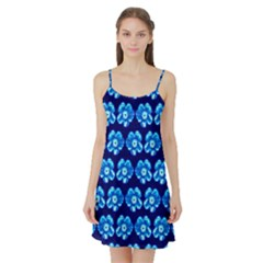 Turquoise Blue Flower Pattern On Dark Blue Satin Night Slip