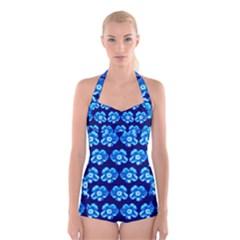 Turquoise Blue Flower Pattern On Dark Blue Boyleg Halter Swimsuit