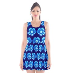 Turquoise Blue Flower Pattern On Dark Blue Scoop Neck Skater Dress